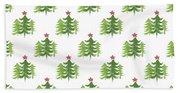 Winter Holiday Trees 2- Art By Linda Woods Beach Sheet