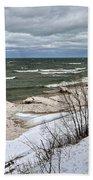 Winter Ice On Lake Michigan Ll Beach Towel