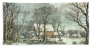 Winter In The Country - The Old Grist Mill Beach Towel