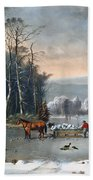 Winter In The Country Beach Towel by Currier and Ives