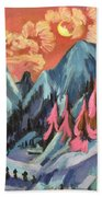 Winter Landscape In Moonlight Beach Towel by Ernst Ludwig Kirchner