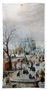 Winter Landscape With Skaters Beach Towel