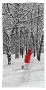 Winter Landscape With Walking Gir In Red. Blac White Concept Gra Beach Towel