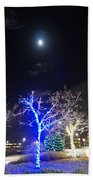 Winter Lights Full Moon Beach Towel