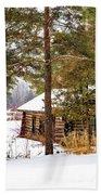 Winter Log Cabin 3 - Paint Beach Towel