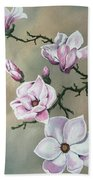 Winter Magnolia Blooms Beach Towel