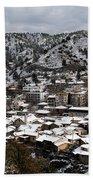 Winter Mountain Village Landscape With Snow Beach Towel