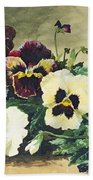Winter Pansies Beach Towel