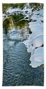 Winter River Reflections - Yellowstone Beach Towel