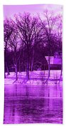 Winter Scene In Violet Beach Towel