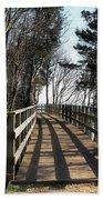 Winter Shadows At The Bridge Beach Towel