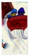 Winter Sleigh Ride Through The Tunnel Beach Towel