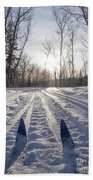Winter Sport X-country Skis In Sunny Forest Tracks Beach Towel