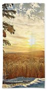 Winter Sunset Over The Mountains Beach Towel