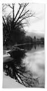 Winter Tree Reflection - Black And White Beach Towel