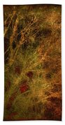 Winter Trees In Gold And Red Beach Towel