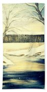 Winter Walk At Bennett's Mill Bridge Beach Towel