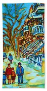 Winter  Walk In The City Beach Towel