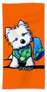Winter Westie With Lime Beach Towel