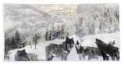 Winter Wolves Beach Sheet