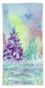 Winter Wonderland Aurora Borealis  Beach Towel