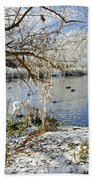 Wintry River At Newton Road Park Beach Towel
