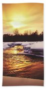 Wintry Sunset Reflections Beach Towel