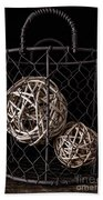 Wire Basket And Balls Still Life Beach Towel
