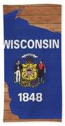 Wisconsin Rustic Map On Wood Beach Towel