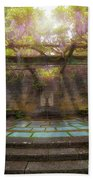 Wisteria Blooming On Trellis At Garden Patio Beach Towel
