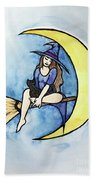Witch And Moon Beach Towel