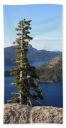 Wizard Island With Rock Fence At Crater Lake Beach Towel