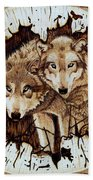 Wolves In Hiding Beach Towel