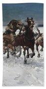 Wolves In Pursuit By Alfred Wierusz-kowalski 1849-1915 Beach Sheet