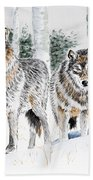 Wolves In The Birch Trees  Beach Towel