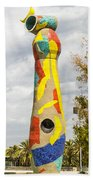 Woman And Bird Statue - Barcelona Spain Beach Towel