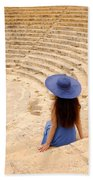 Woman At Greco-roman Theatre At Kourion Archaeological Site In C Beach Towel