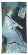 Woman At The Piano Beach Towel