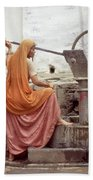 Woman At The Pump Beach Towel