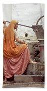 Woman At The Pump Beach Sheet