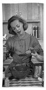 Woman Baking In Kitchen, C.1960s Beach Towel