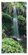 Woman Beneath Waterfall Beach Towel