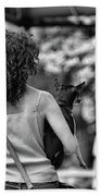 Woman Carry Dog Nyc Blk Wht  Beach Towel