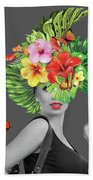 Woman Floral  Beach Towel