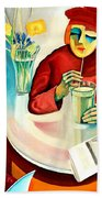 Woman In A Cafe Beach Towel