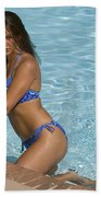 Woman In A Pool. Beach Towel