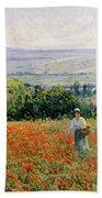 Woman In A Poppy Field Beach Towel