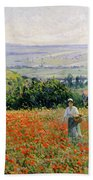Woman In A Poppy Field Beach Sheet