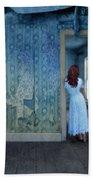 Woman In Abandoned House Beach Towel by Jill Battaglia
