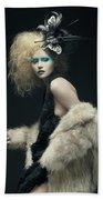 Woman In Black Avant-garde Attire With Butterfly Headdress Beach Towel